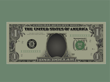 Drawing of a denomination of one dollar.Vector,Without mesh.