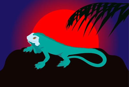 southamerica:  Lizard against the sun. A vector. Without mesh