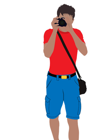 The guy photographs. Vector. Made without mesh.