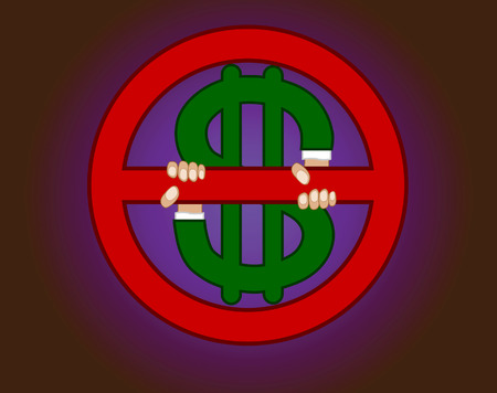 Symbol of an interdiction of money.Vector.Without mesh. Illustration