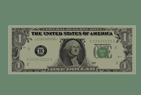 Drawing of a denomination of one dollar.Vector,With mesh.