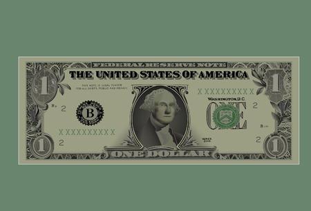 Dessin d'une valeur nominale d'un dollar.Vector, avec un maillage.