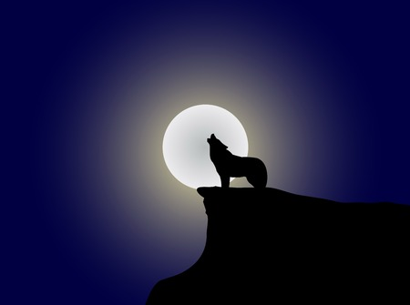 The wild animal is howling to the moon