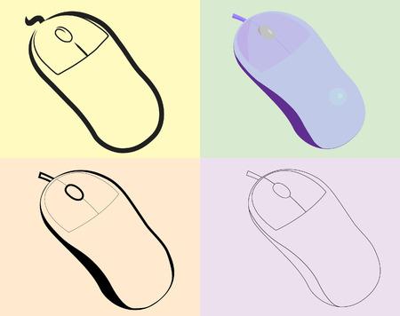 ergonomie: Die optische Maus eines verschiedene kind.Vector.Without-Netzes.