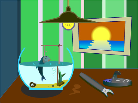 pity: The small fish was hung up in an aquarium Illustration