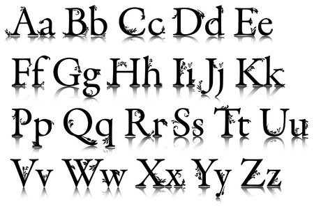 fonts vector: The alphabet with patterns. Vector. Without mesh.