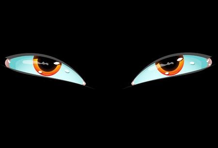 urinare: Occhi su sfondo nero. Vettore. Senza trama.