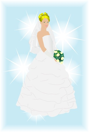 The bride in a wedding dress. Vector. Without mesh. Vector