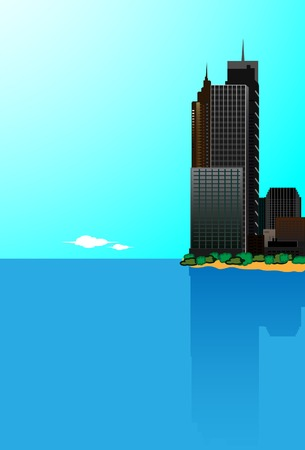 vecter: Landscape with a city at coast Vector. Wiyhout mesh.