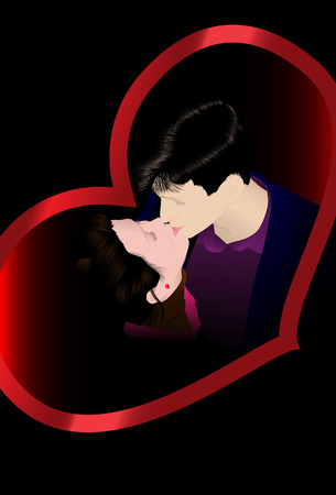 Kissing couple. Vector. Without mesh. Vector