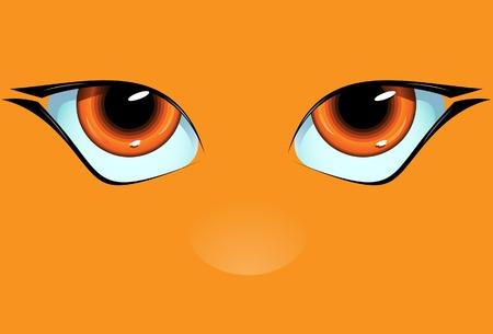 urinare: Orange muso con i grandi occhi e la natura. Vector. Senza maglia. Vettoriali