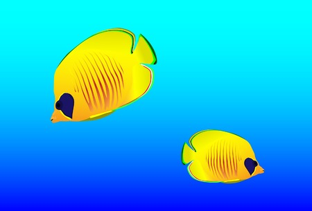 Bright oceanic small fishes. Vector. Without mesh. Stock Vector - 4767870