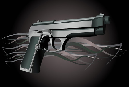 keyline: Gun.Vector. Without mesh. Illustration