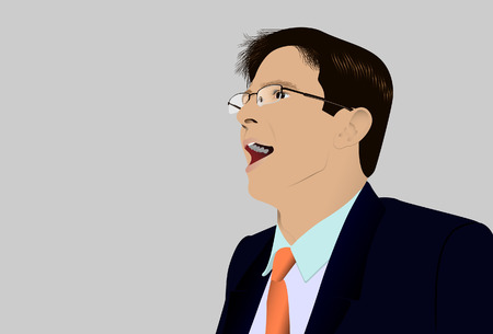 deflated: The shouting person in glasses. Vector. Without mesh. Illustration