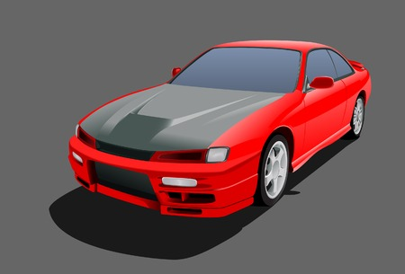 masterpiece: Red sports car. Vector. Without mesh. Illustration