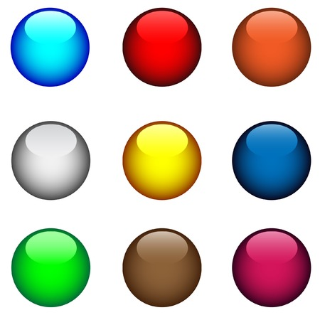 Nine multi-coloured buttons with patches of light Vector