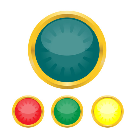 buttons with a gold border. Vector. Without mesh. Vector