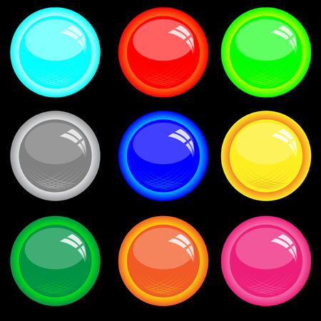 without window: Buttons with window reflexion. Vector. Without mesh.