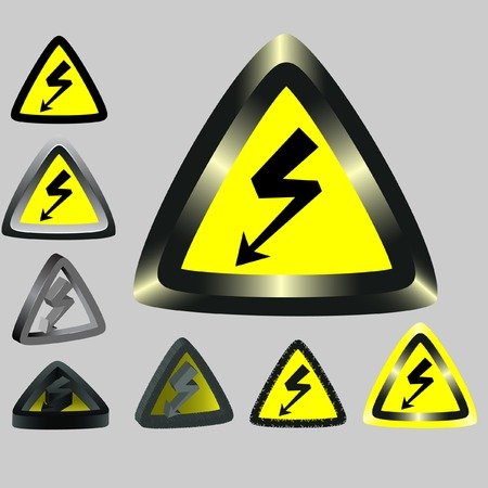hazardous substances: Signs warning about an electricity. Vector. Without mesh.