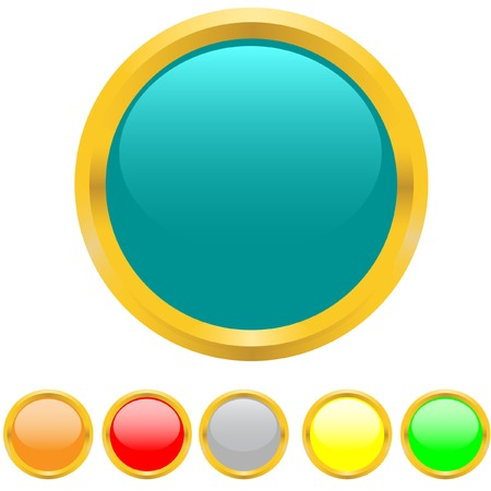Multi-coloured buttons with a gold border. Vector. Without mesh. Vector