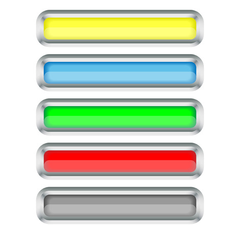 Set of long buttons with a silver border. Vector. Without mesh. Vector