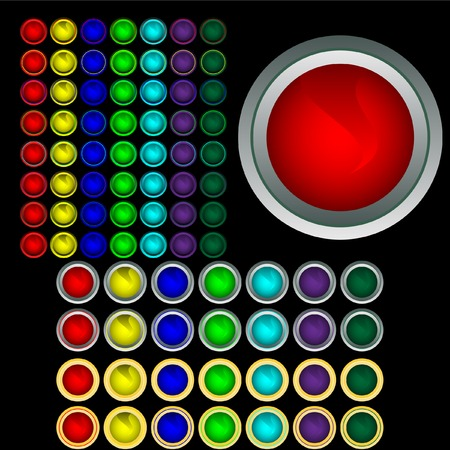 Set of multi-coloured buttons with boards. Vector. Without mesh. Vector