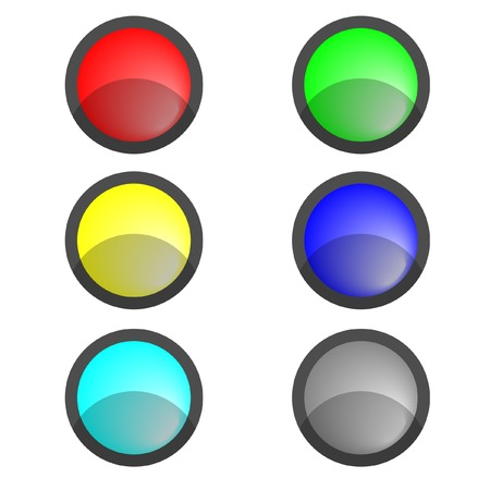 Six multi-coloured buttons. A vector. Without mesh. Vector