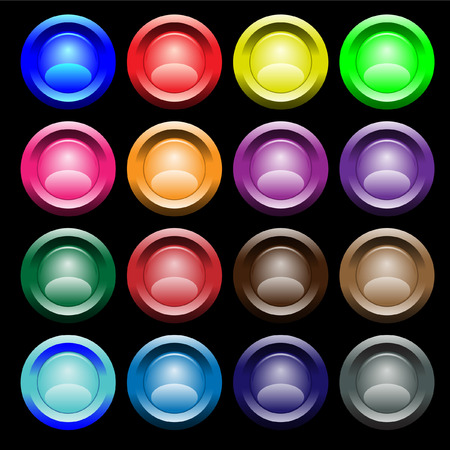 Sixteen multi-coloured buttons with boards. Vector. Without mesh. Vector