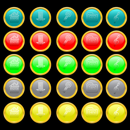 Some multi-coloured buttons with symbols. Vector. Without mesh. Vector