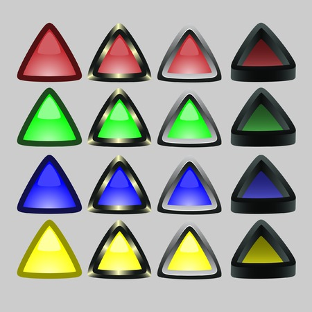 Triangular buttons with a board. Vector. Without mesh. Vector