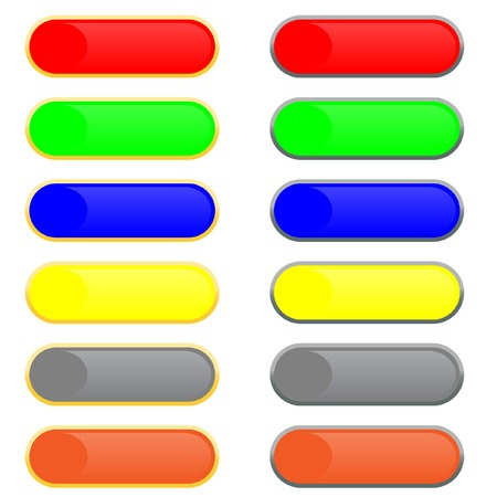 Set of volume images of buttons with patches of light. Vector. Without mesh. Vector