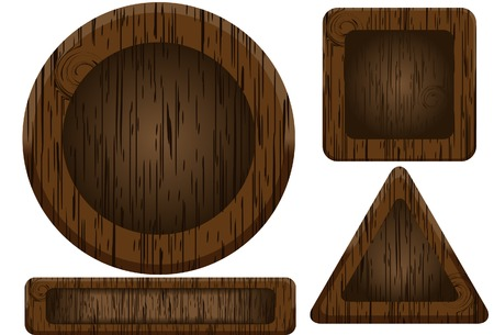 wooden vector mesh: Wooden buttons. Vector. Without mesh. Illustration