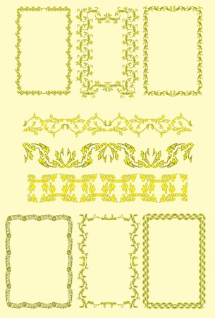 Seamless patterns and frameworks. Vector. Without mesh. Vector