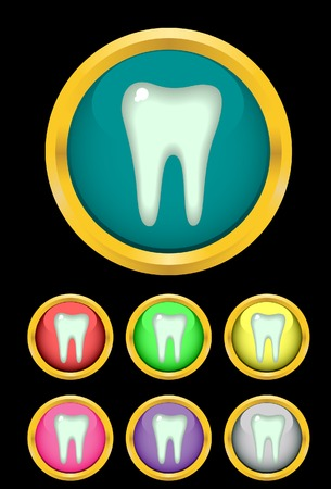 frame vector: Tooth in a frame. Vector. Without mesh.