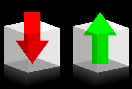 Upload and download symbols. Arrows in transparent boxes. A vector. Without mesh. Vector
