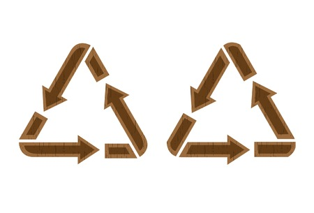 wooden vector mesh: wooden recycling icon. A vector. Without mesh. Illustration