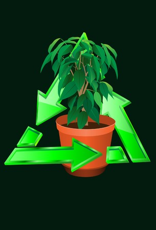 The plant with resycle symbol. Vector. Without mesh. Vector