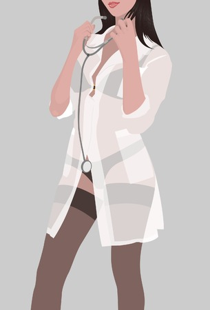 chiropractor: The nurse in a transparent dressing gown. Vector. Without mesh.