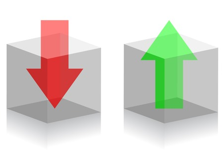 stock clip art: Upload and download symbols. Arrows in transparent boxes. A vector. Without mesh. Illustration
