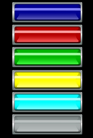 Buttons in a silver frame. Vector. Without mesh. Vector