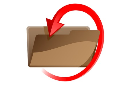 Folder with red arrow. A vector. Without mesh.