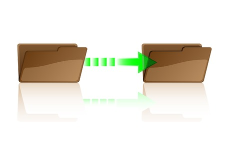 unpacking: File transfer. A vector. Without mesh. Illustration