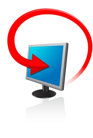The monitor with red arrow. A vector. Without mesh.