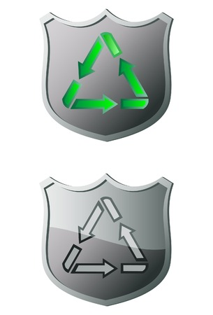 The recycle shield. A vector. Without mesh.