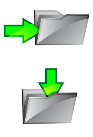 folders with green arrows. A vector. Without mesh.