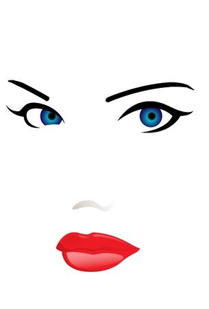 De vrouw gezicht. Een vector. Zonder mesh.