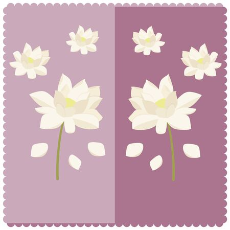 Illustration of a white lotus flower on a lilac background Ilustracja