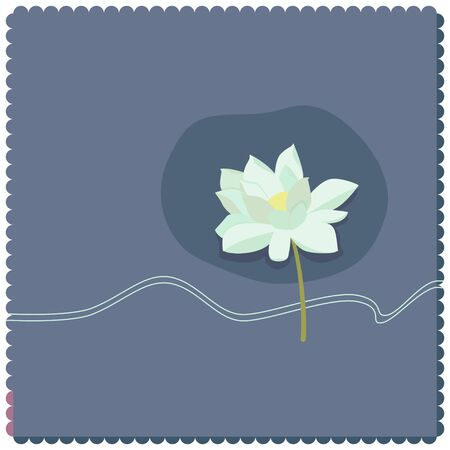 Illustration of a white lotus flower on a blue background
