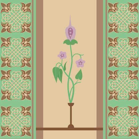 Seamless symmetrical, floral ornament in Euroean style