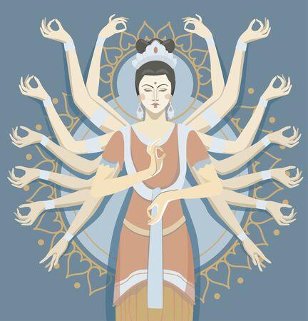 Una figura de una diosa budista con miles de manos. Dios asiático, yoga zen, vector